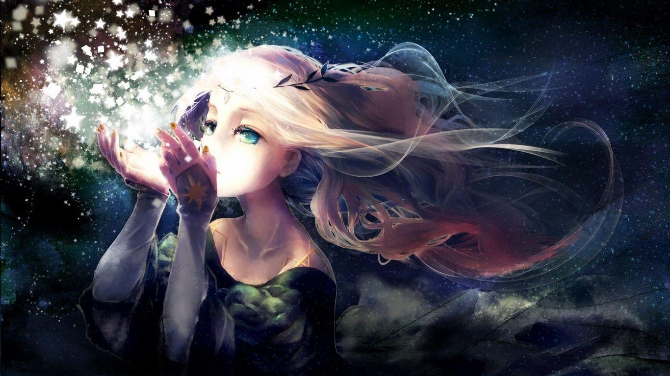 1366x768 Tải xuống hình nền 1366x768 yukino neko, cô gái, anime, ngôi sao, vòng hoa