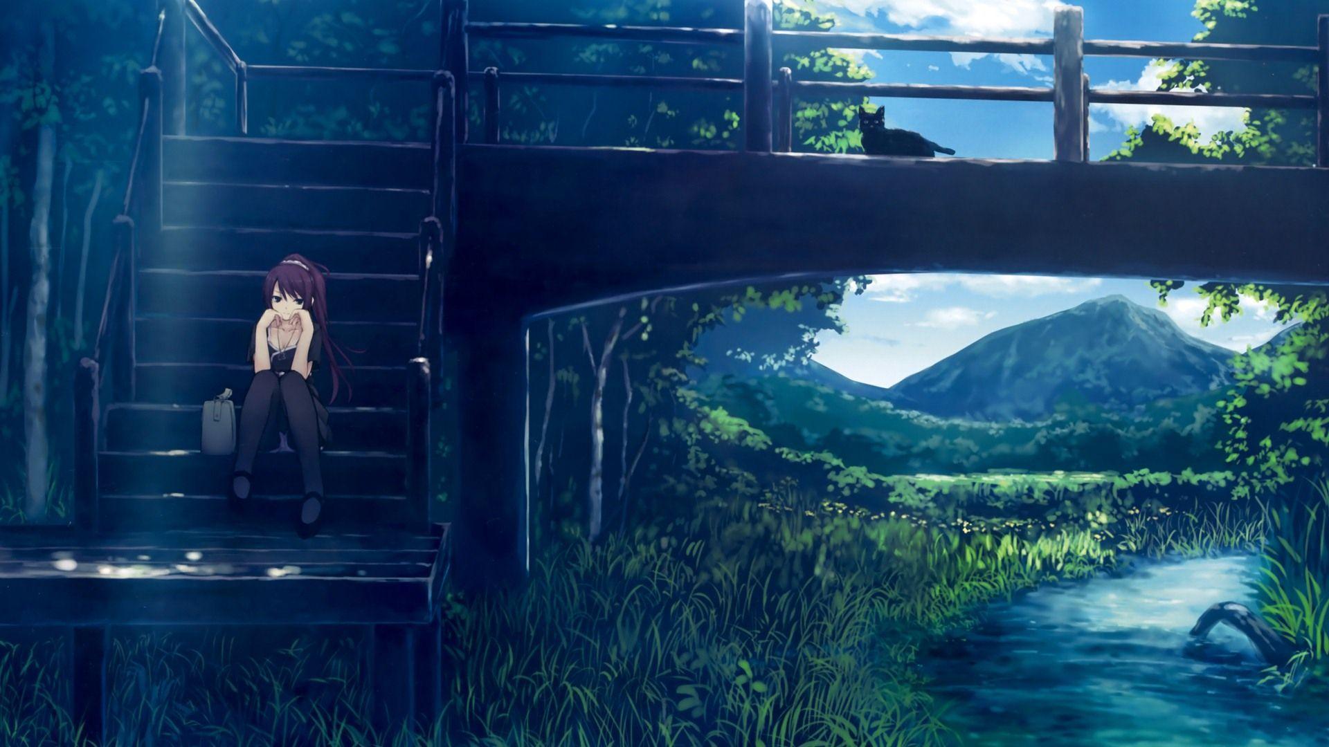 1920x1080 Máy tính để bàn Phong cảnh Anime Mưa Rộng trên Hình nền Mưa Tối với Cao