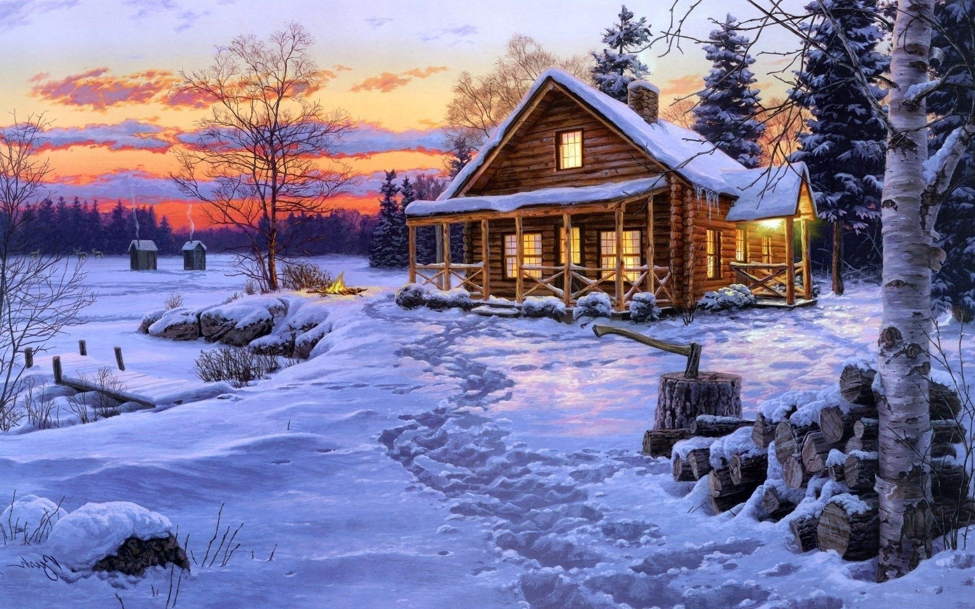 Log Cabin Landscape Wallpapers Top Free Log Cabin Landscape Backgrounds Wallpaperaccess