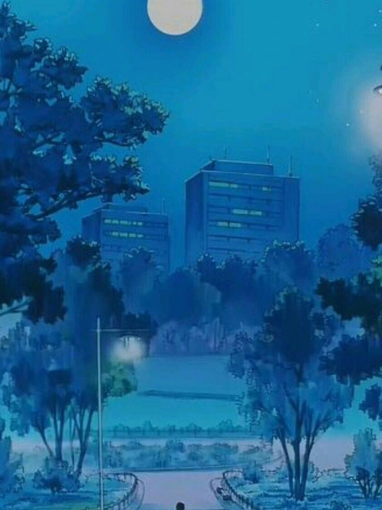 768x1024 Anime Blue Aesthetic hình nền