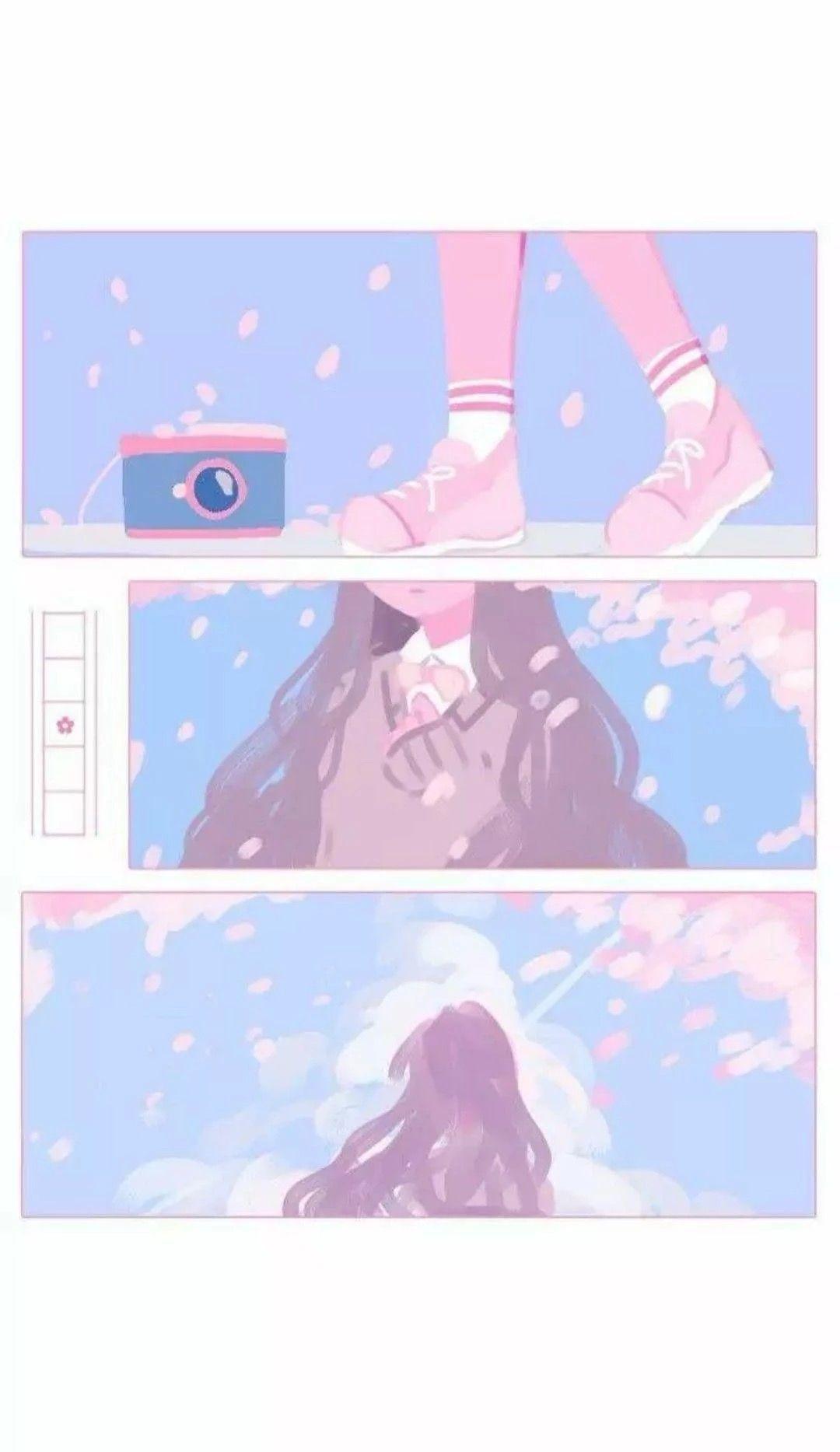 1080x1867 Hình nền thẩm mỹ Anime màu hồng và xanh lam 1080x1867