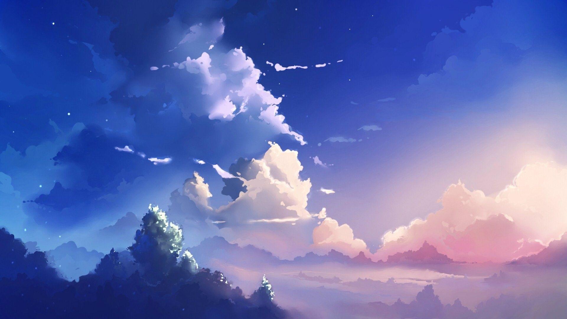 1920x1080 Beautiful Aesthetic Light Blue Hình nền Anime