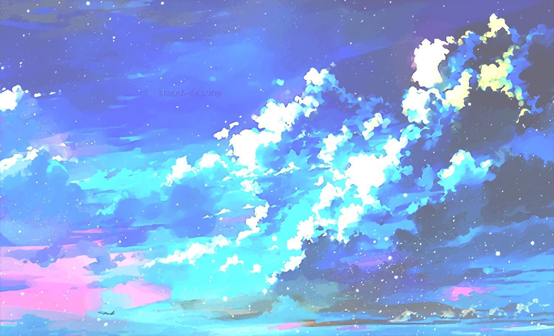 1500x909 Aesthetic Anime Sky Desktop Wallpaper
