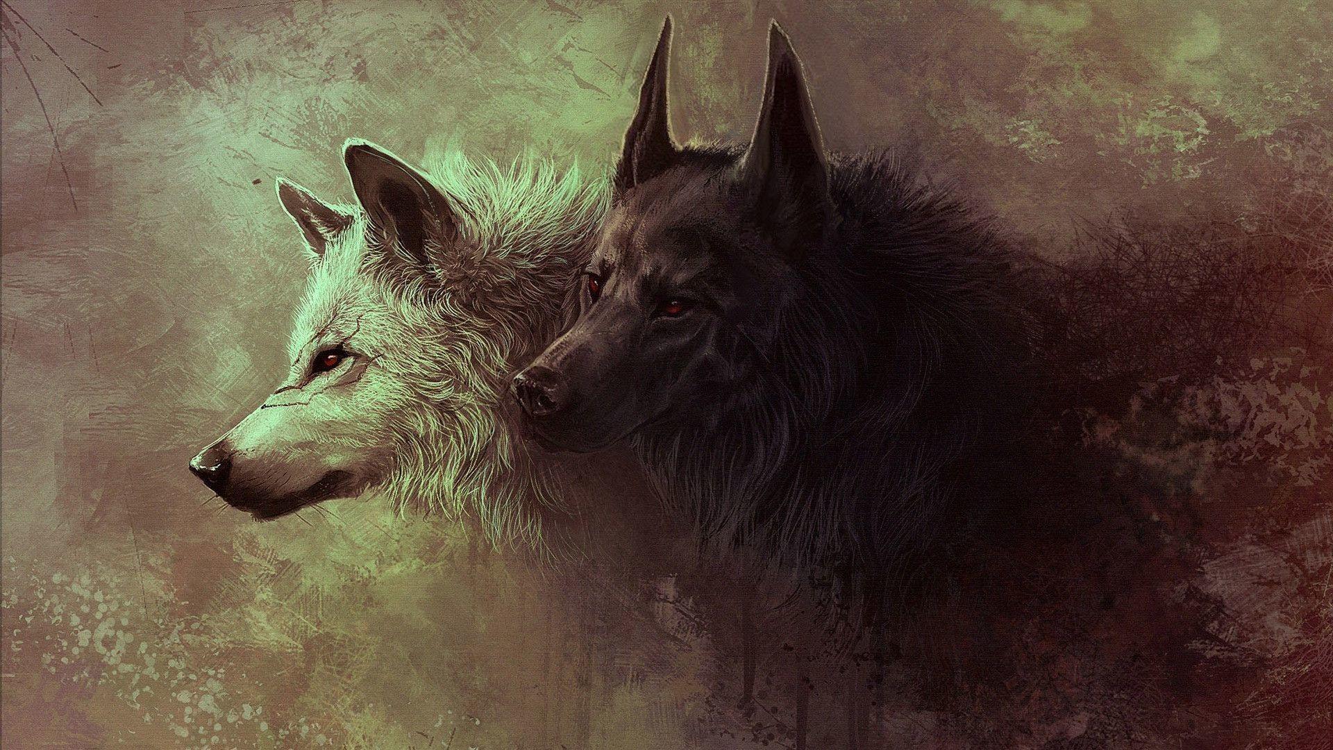 1920x1080 Hình nền trừu tượng chó sói