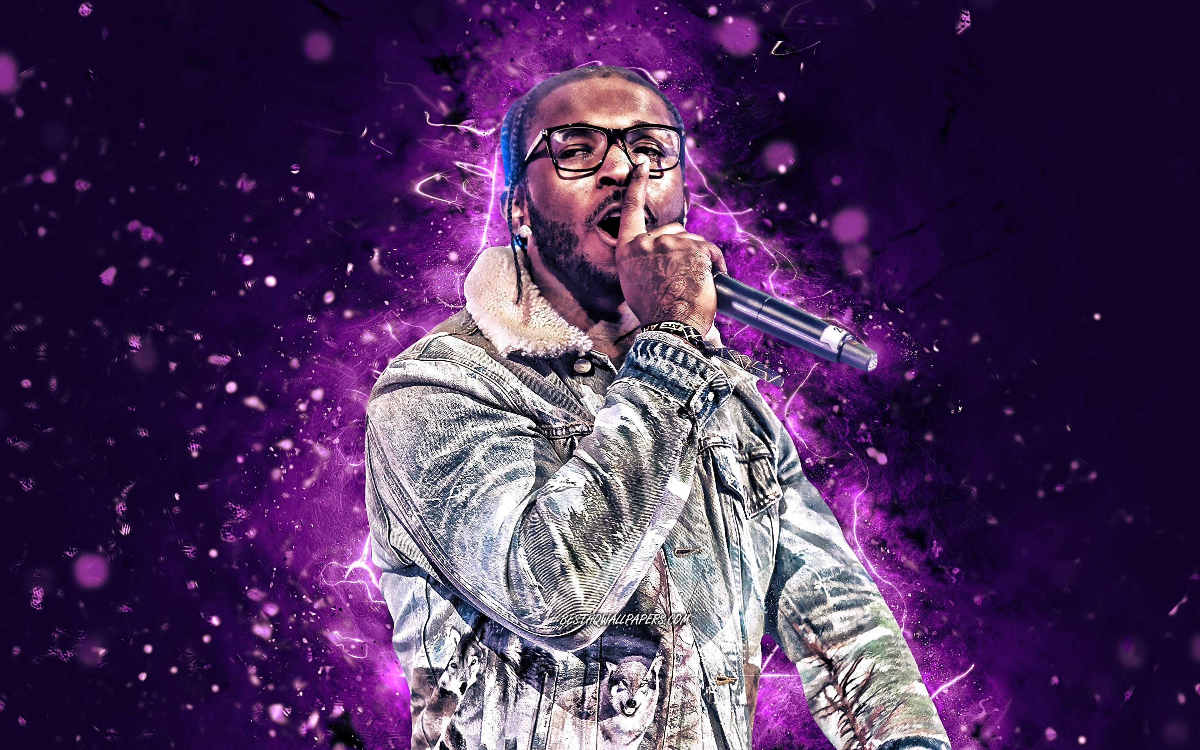 3840x2400 Tải xuống hình nền Pop Smoke, 2020, 4k, đèn neon tím, rapper người Mỹ, ngôi sao âm nhạc, Pop Smoke với micrô, Bashar Barakah Jackson, người nổi tiếng người Mỹ, Pop Smoke 4K cho máy tính để bàn với độ phân giải 3840x2400.  Chất lượng cao