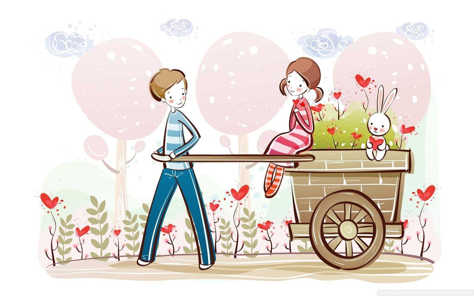 1920x1200 Cute Valentine Couple, Valentine's Day Illustration ❤ 4K HD Desktop
