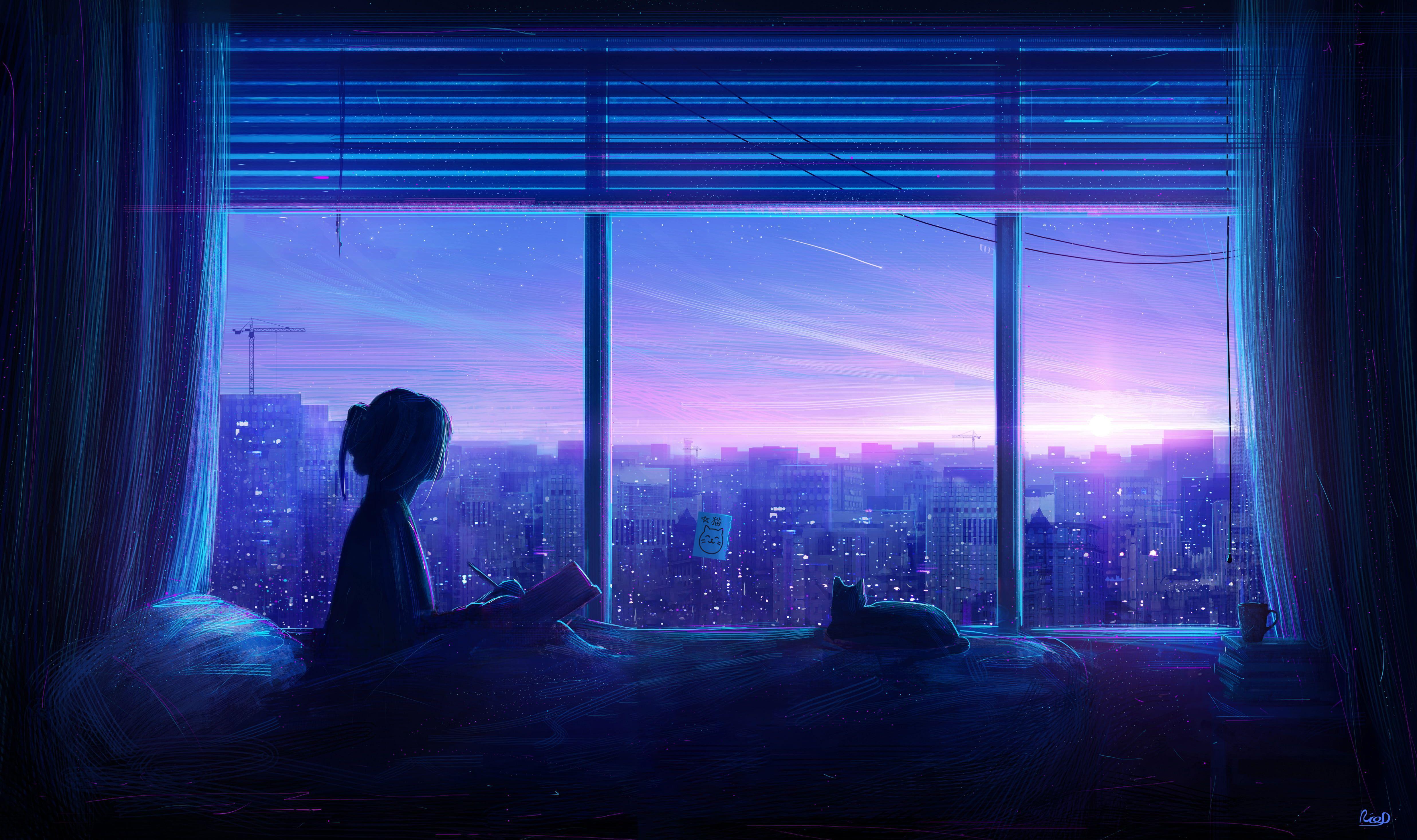 Blue Anime Aesthetic Desktop Wallpapers Top Free Blue Anime Aesthetic Desktop Backgrounds Wallpaperaccess