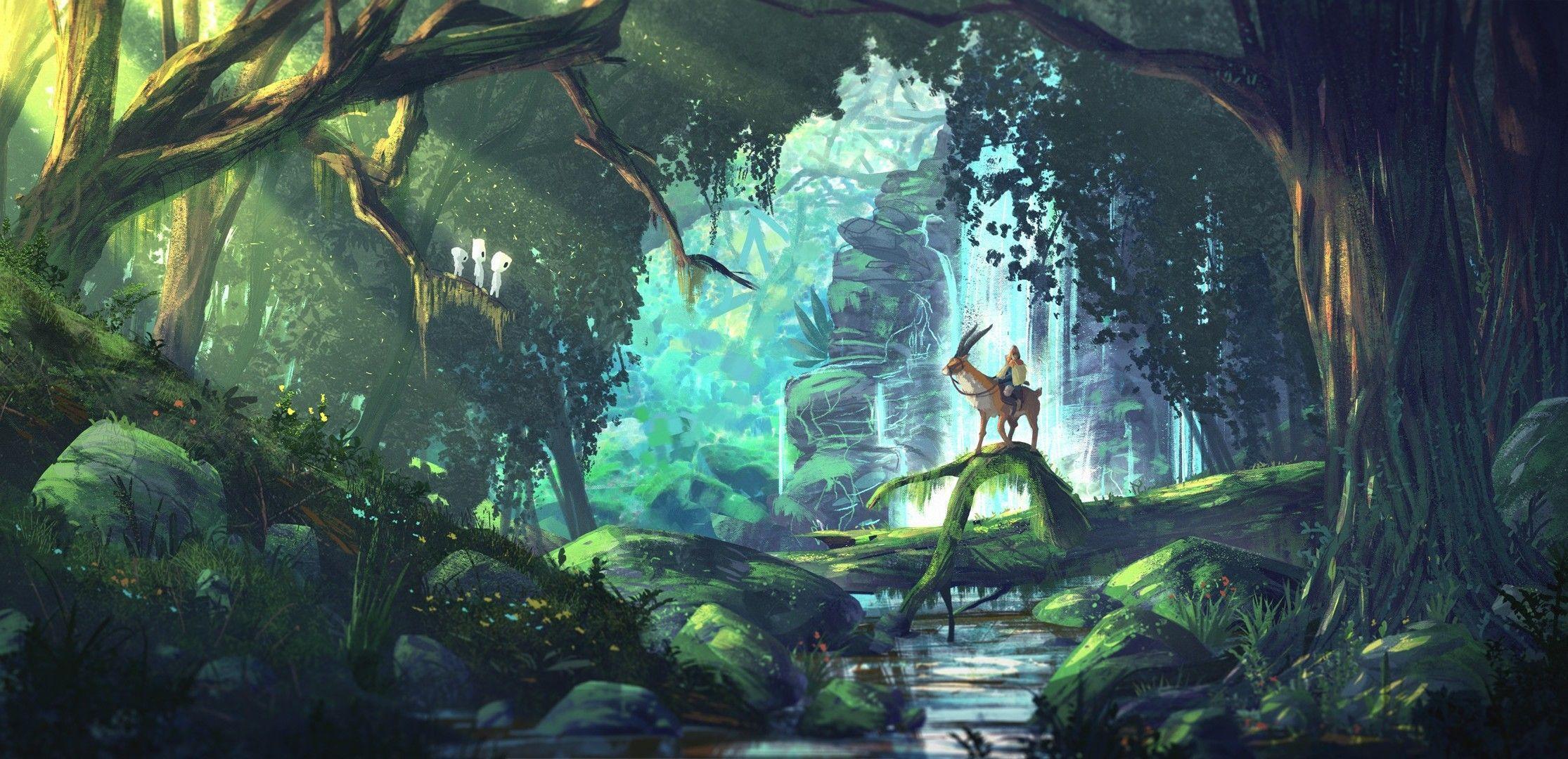2230x1080 Nghệ thuật tưởng tượng, Anime, Rừng, Công chúa Mononoke, Studio Ghibli