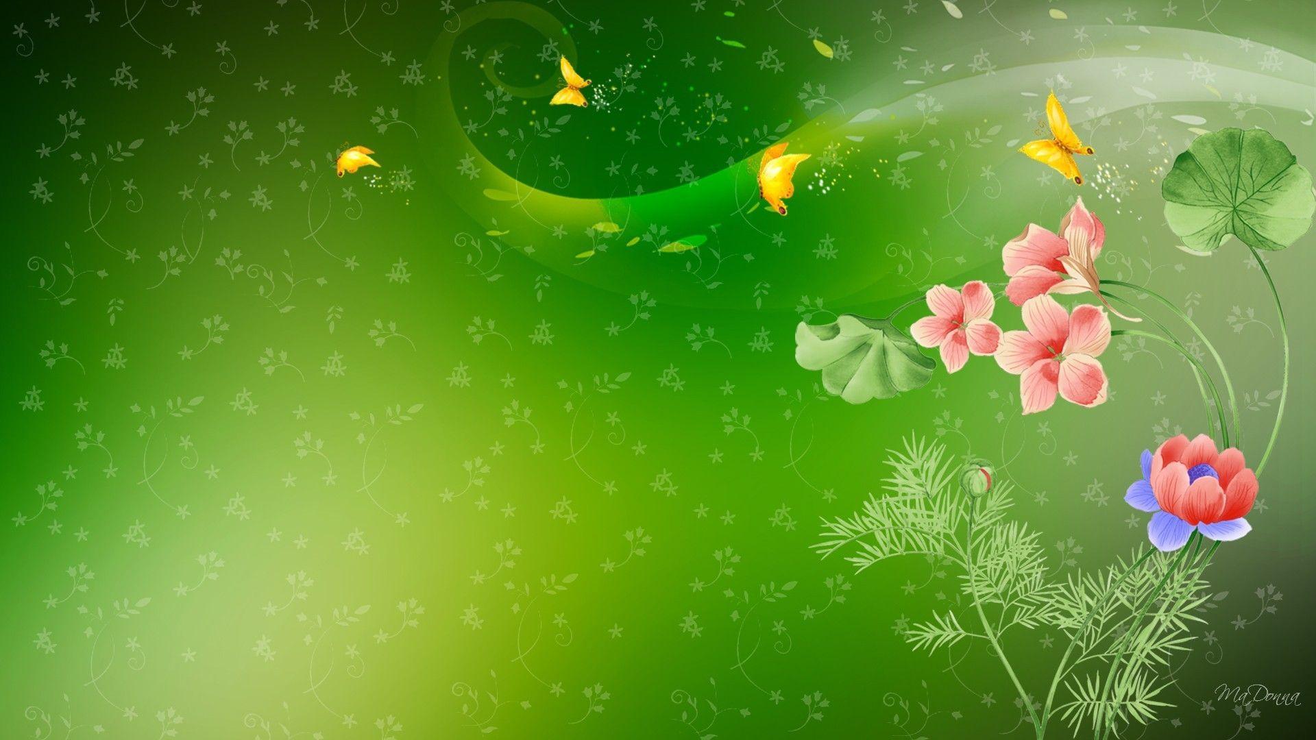 Обои на зеленом фоне цветы