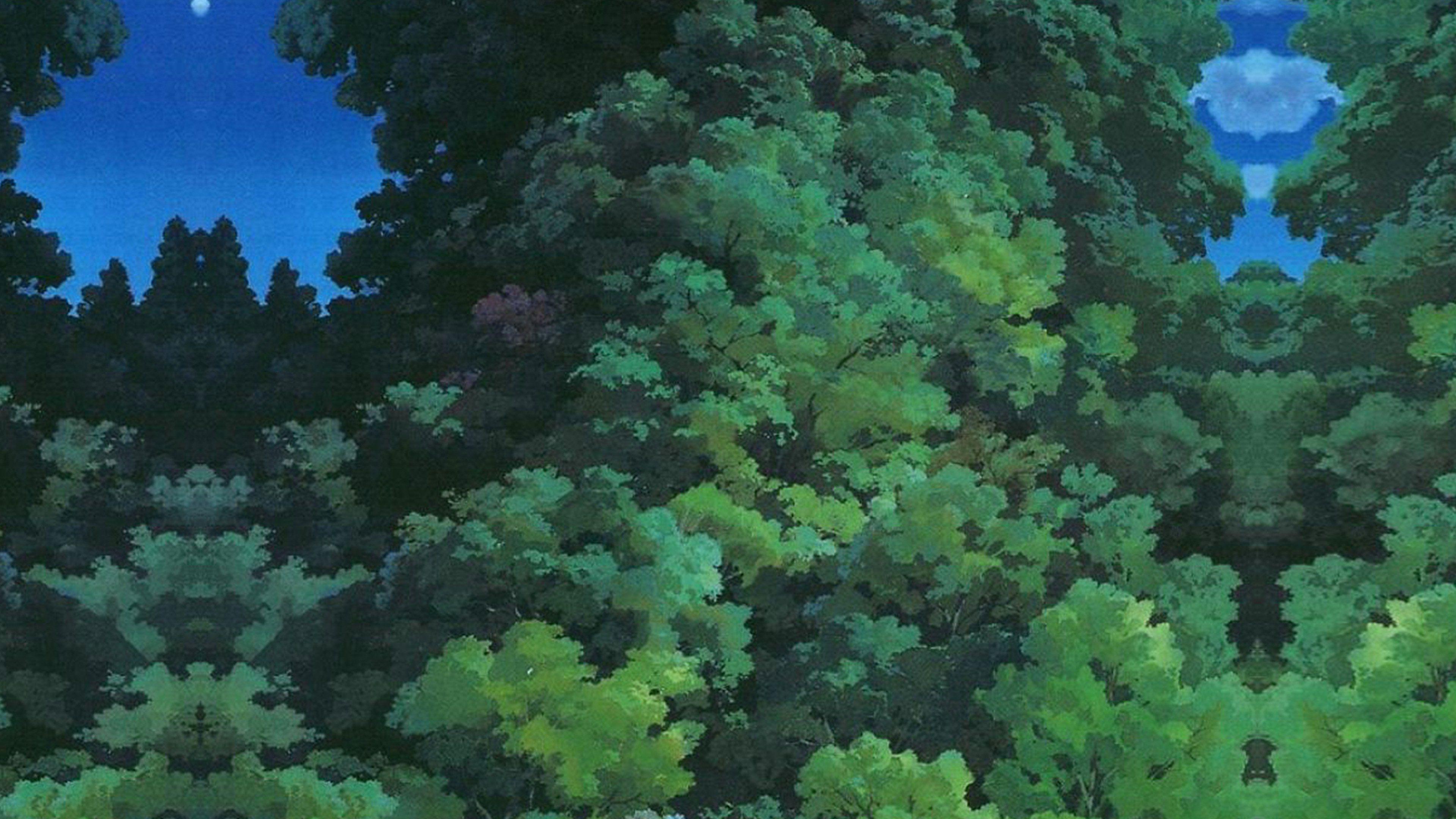 3840x2160 Studio Ghibli Tree Hình minh họa nghệ thuật xanh Love Anime Wallpaper
