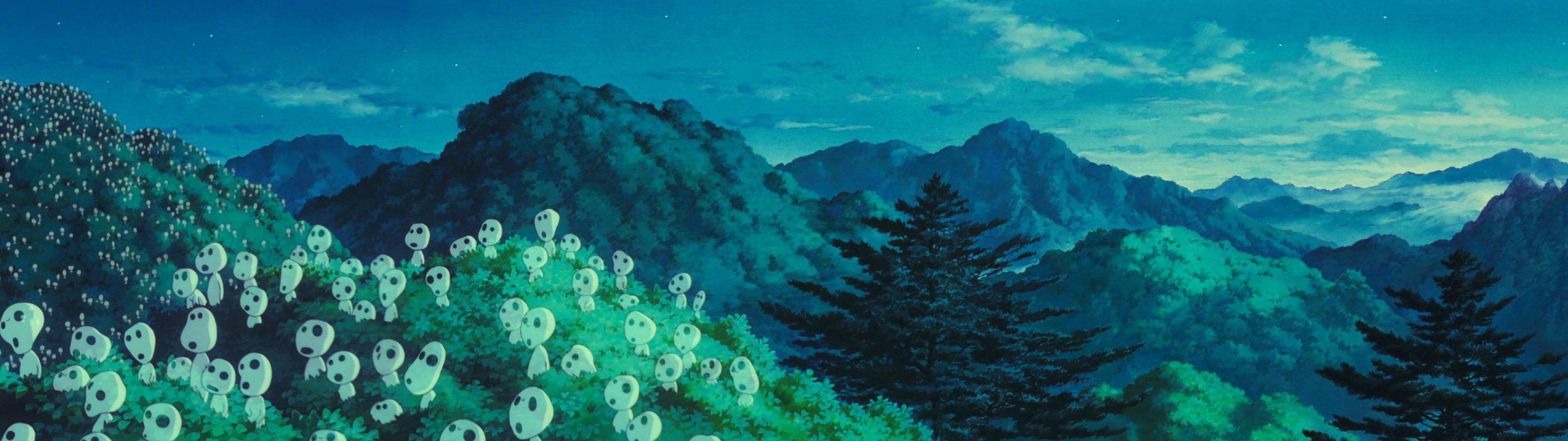 Hình nền Kodama Princess Mononoke màn hình kép 3840x1080