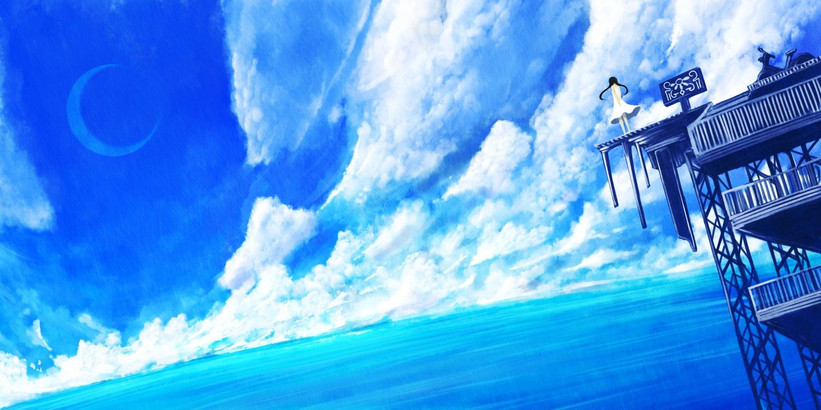 X Blue Anime Scenery Wallpaper X Id Wallpapervortex Com