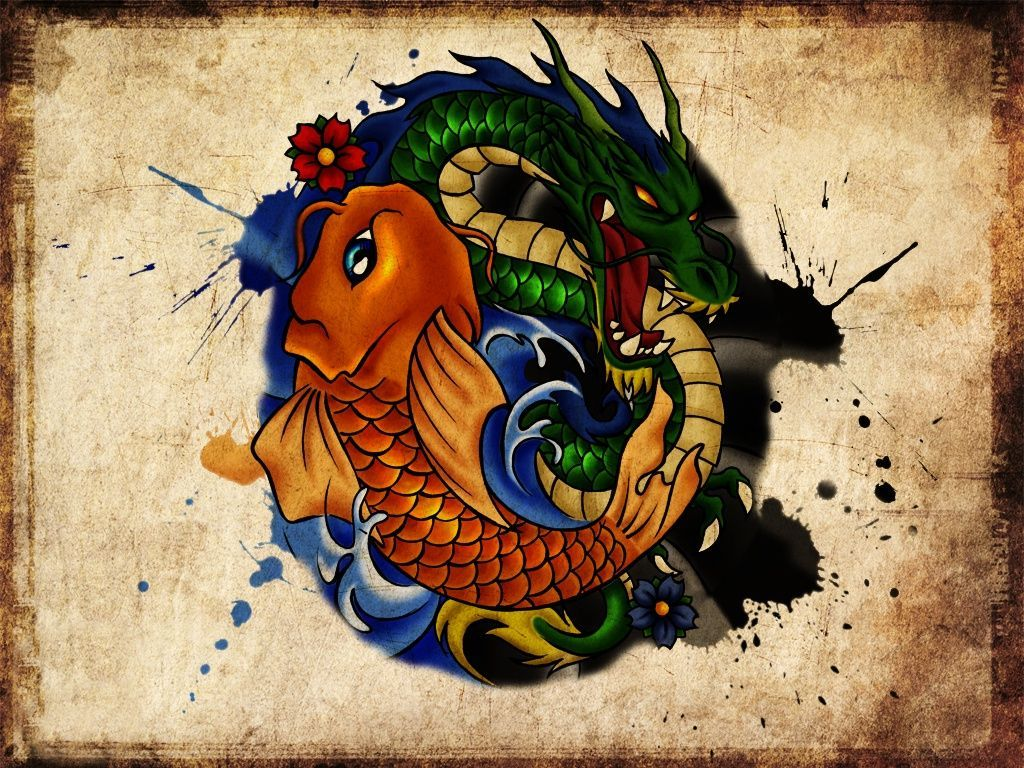 1024x768 Download Wallpapers, Download 2560x1920 water paintings fish koi .
