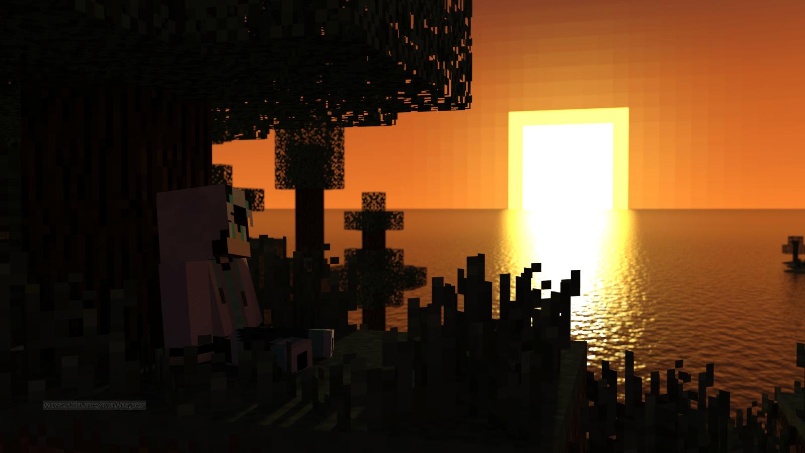 Minecraft Sunset Wallpapers Top Free Minecraft Sunset Backgrounds Wallpaperaccess