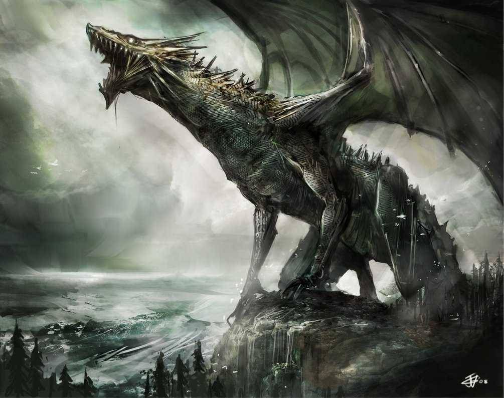 A monstrous serpent like dragon lets out a deep howl, thirsty for blood and treasures.