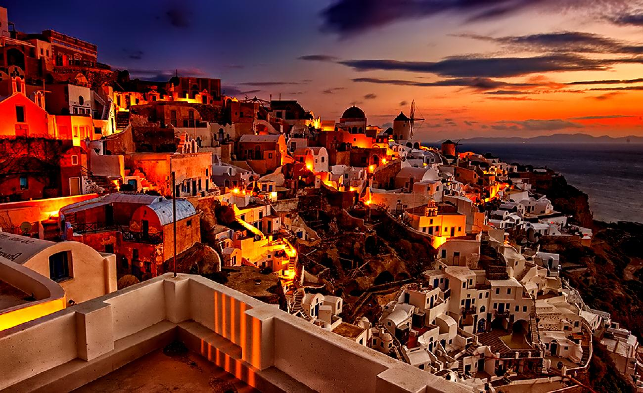 Santorini Sunset Greece Wallpapers Top Free Santorini Sunset Greece Backgrounds Wallpaperaccess