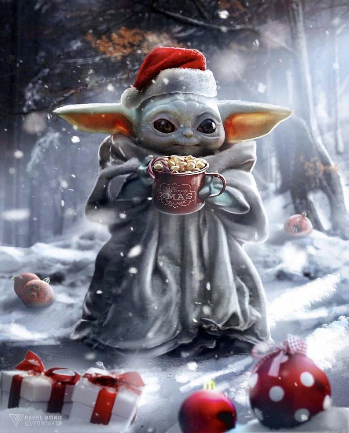 Baby Yoda Christmas Wallpapers Top Free Baby Yoda Christmas Backgrounds Wallpaperaccess