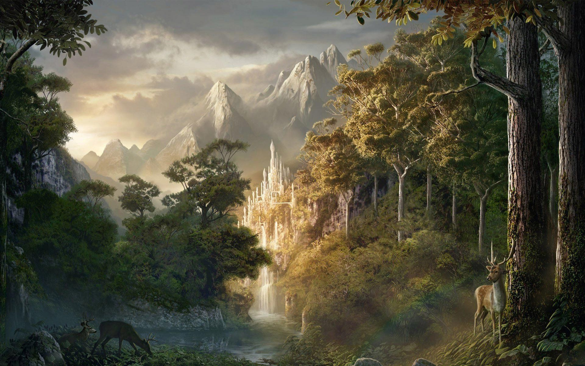 Hình nền lâu đài trong rừng tưởng tượng 1920x1200 (1920 × 1200).  Phong Cảnh Ảo Tưởng, Cây Ảo Tưởng, Rừng Ảo Ảnh