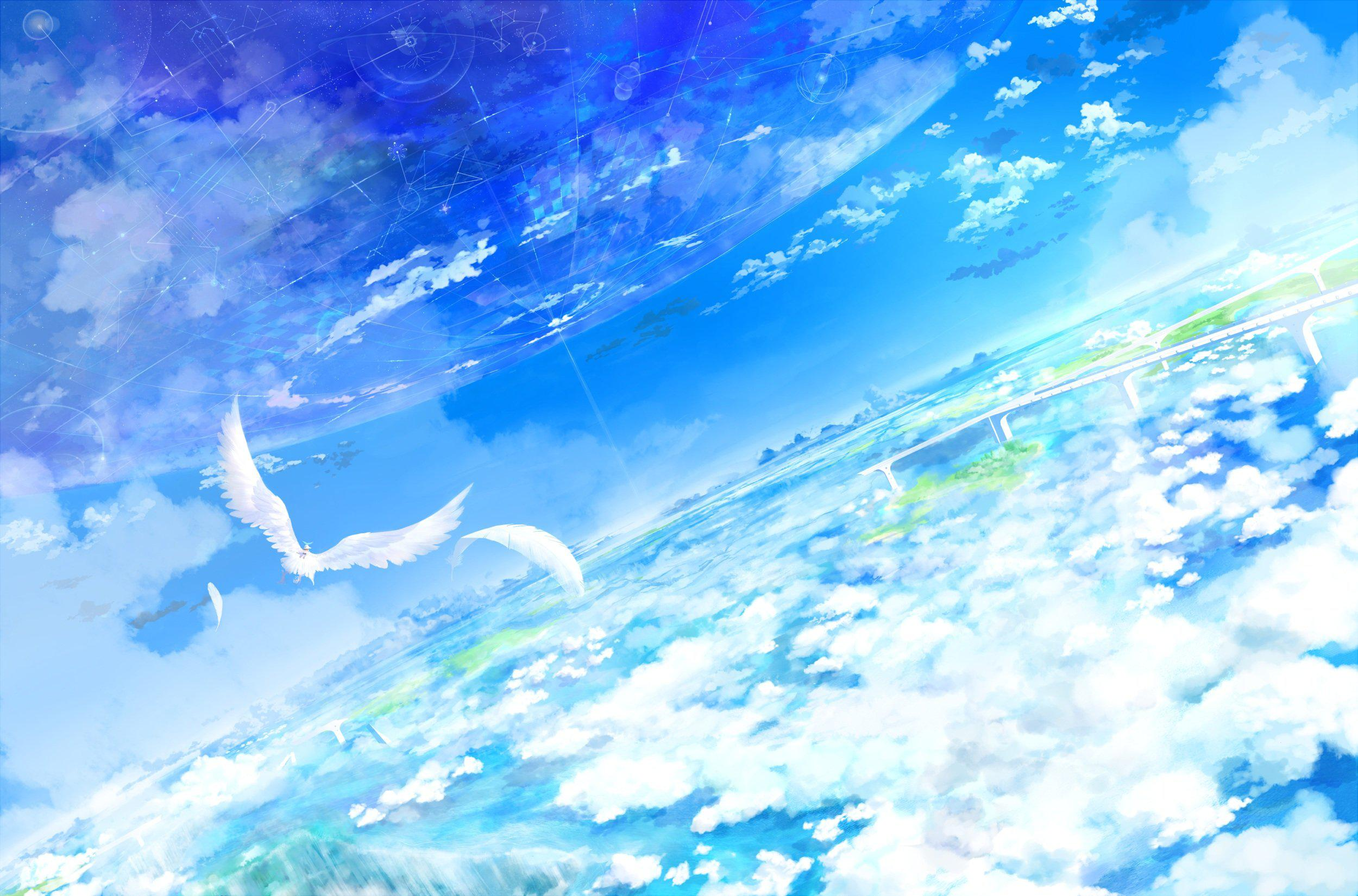 Anime Sky Wallpapers Top Free Anime Sky Backgrounds Wallpaperaccess