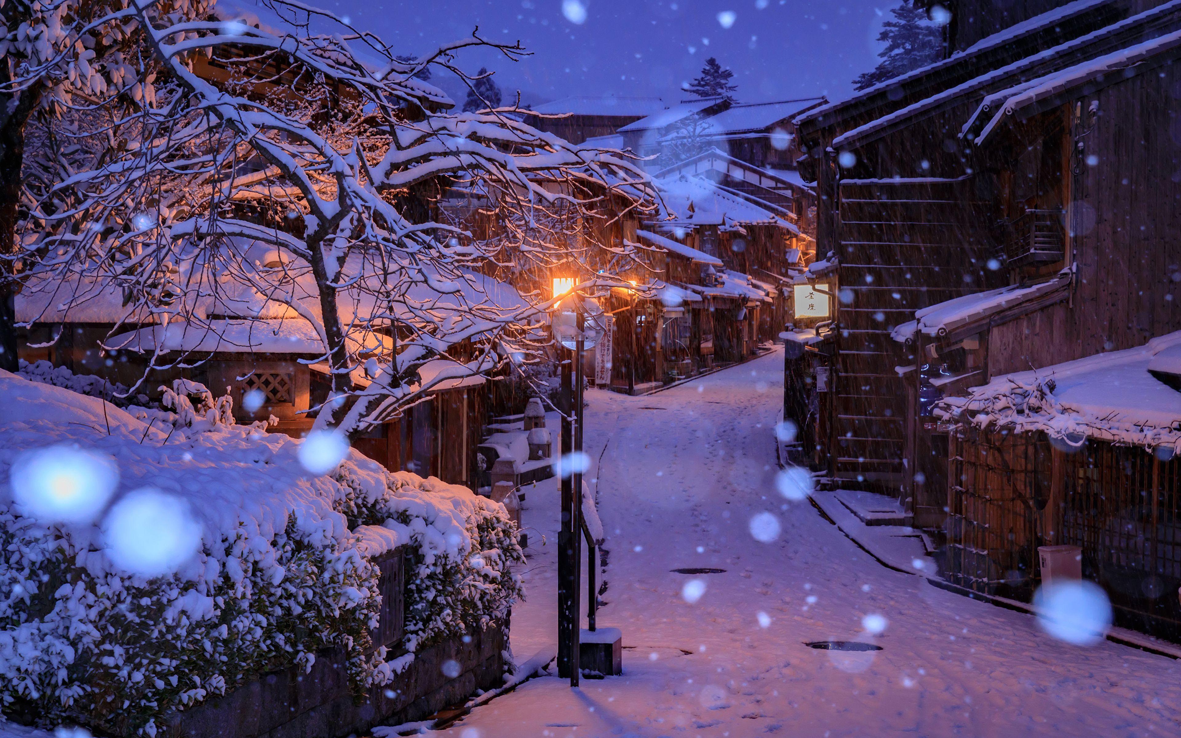 Japan Snow Night Wallpapers Top Free Japan Snow Night