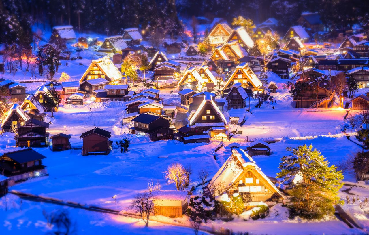 Japan Snow Night Wallpapers Top Free Japan Snow Night Backgrounds Wallpaperaccess