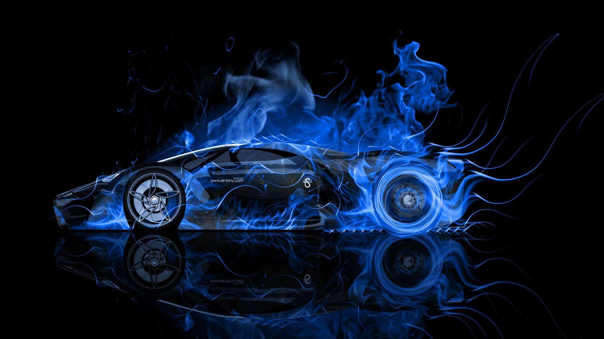 1920x1080 Blue Fire Car hình nền