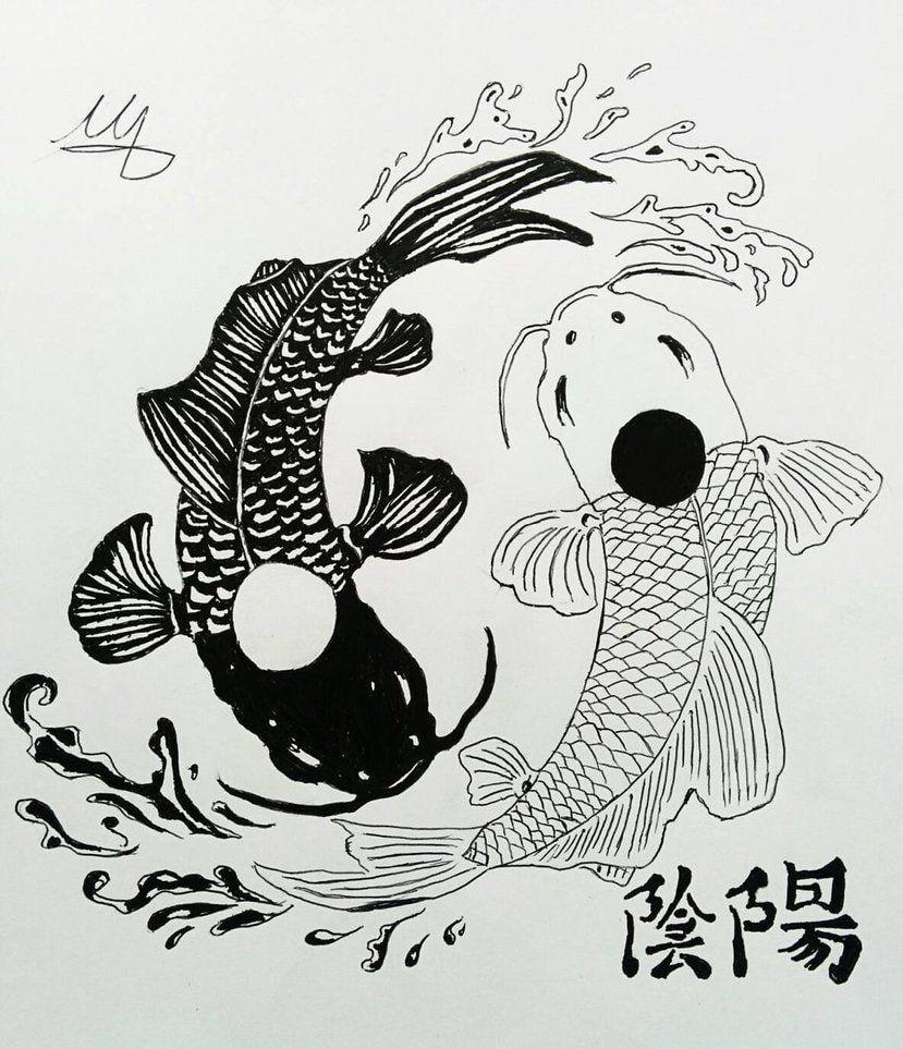 Black White Koi Fish Wallpaper