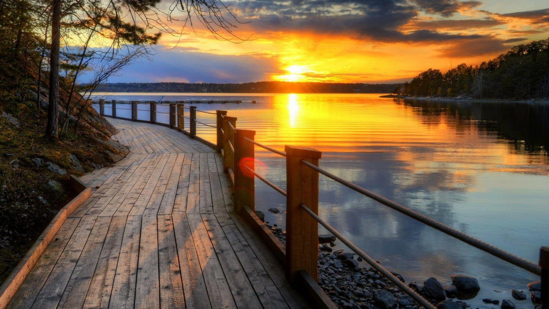 Lake Sunset Wallpapers Top Free Lake Sunset Backgrounds Wallpaperaccess