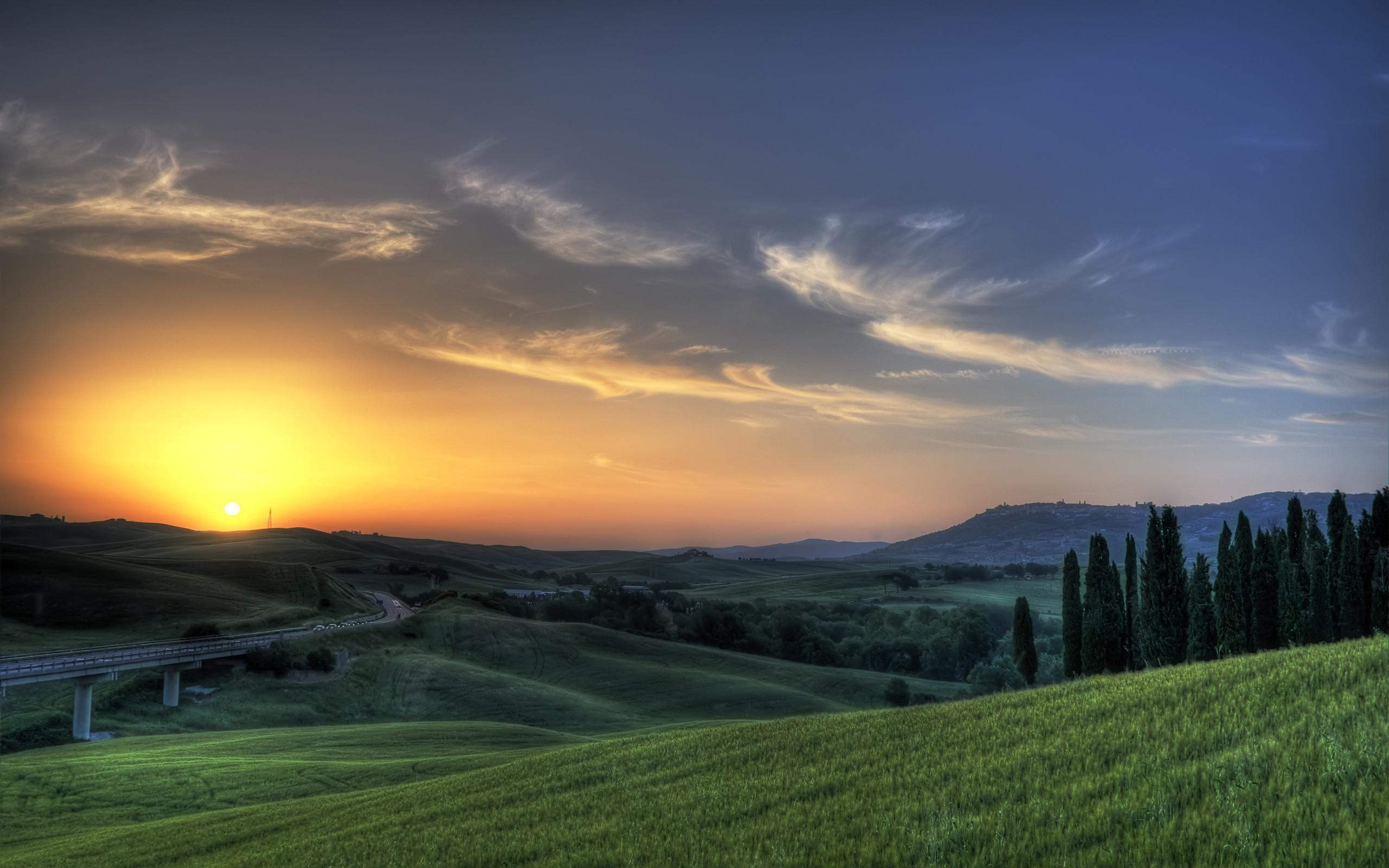 Hình nền HD 2560x1600 Rising Sun Hills Hình ảnh