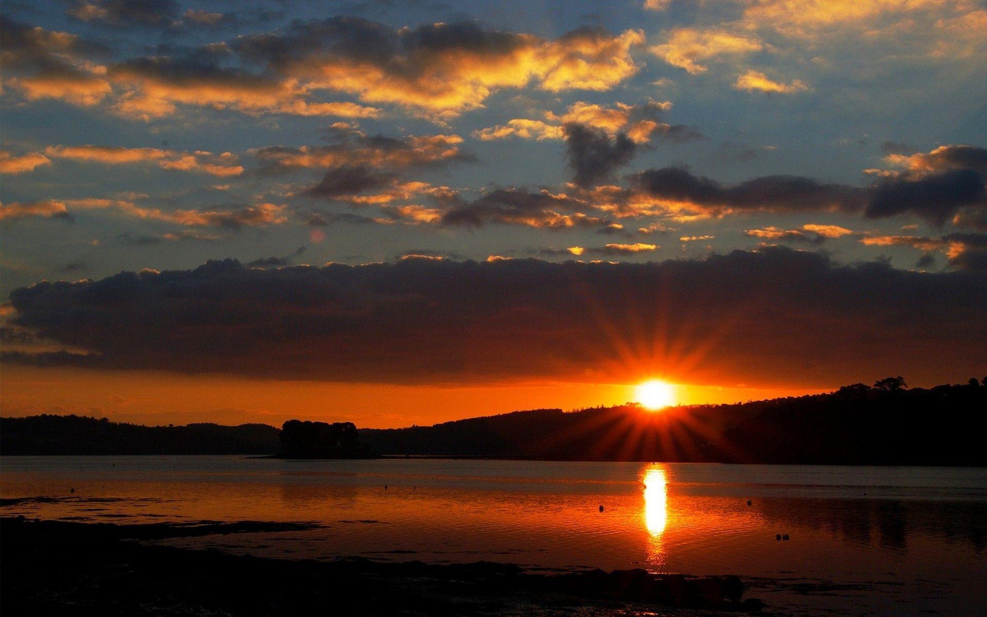 1920x1200 Hoàng hôn: Mặt trời mọc Bầu trời Mặt trời Buổi sáng Mặt trời Những đám mây Mặt trời lặn Sông Hoàng hôn