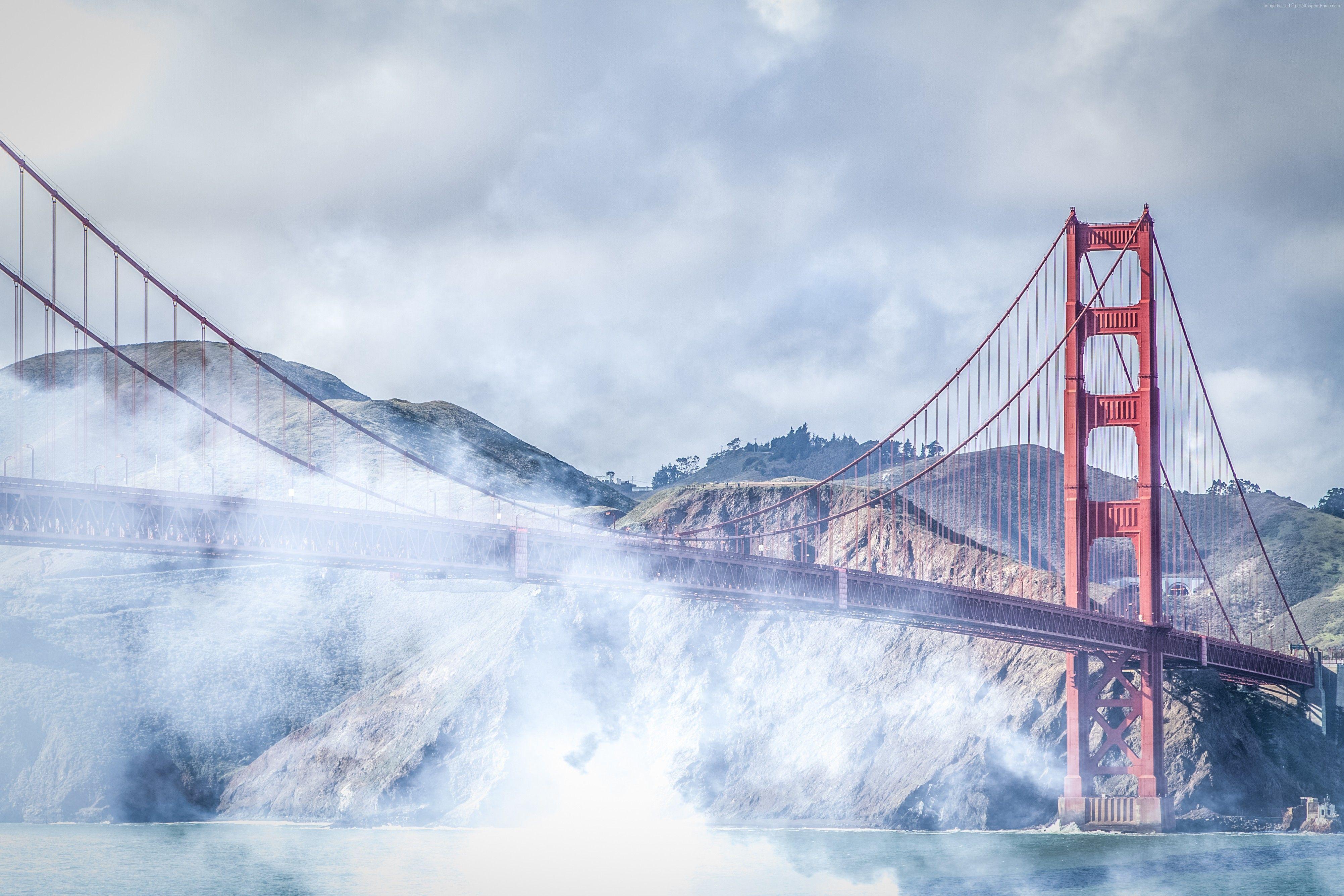 Golden Gate Bridge in Clouds Wallpaper HD Wallpaper