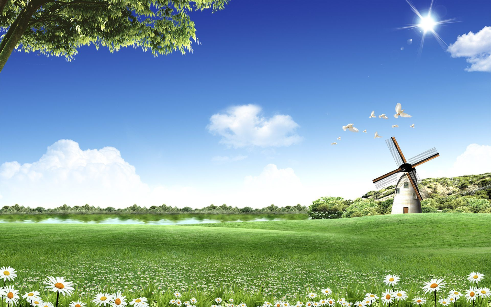 Sunny landscape desktop wallpapers top free sunny - Sunny day wallpaper ...