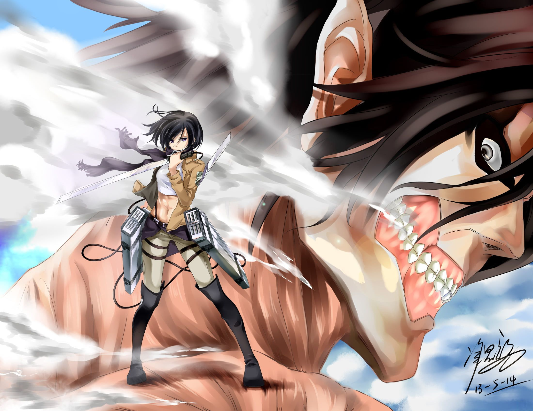 Attack On Titan Eren And Mikasa Wallpapers Top Free Attack