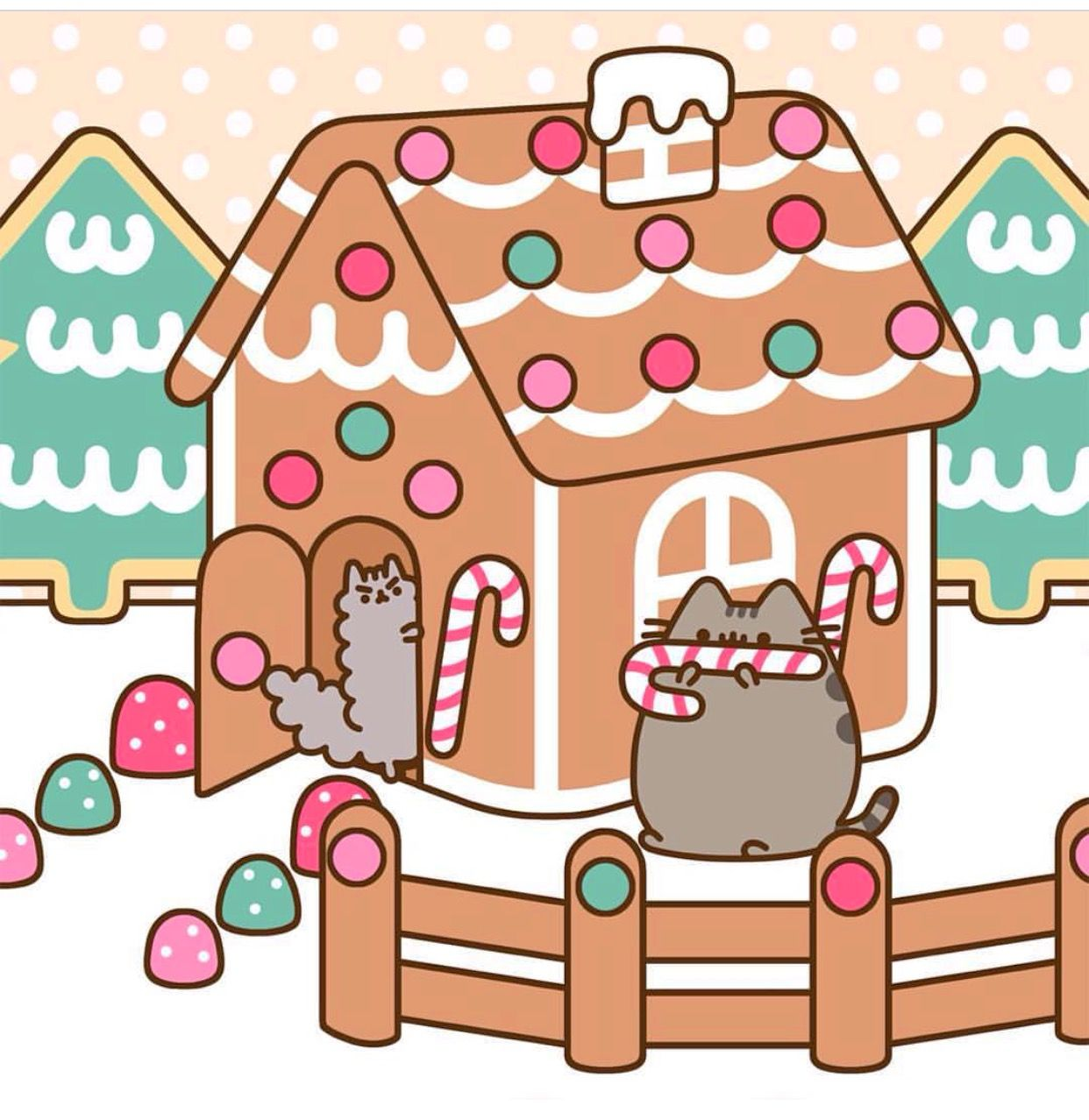 Pusheen Christmas Wallpaper Kawaii