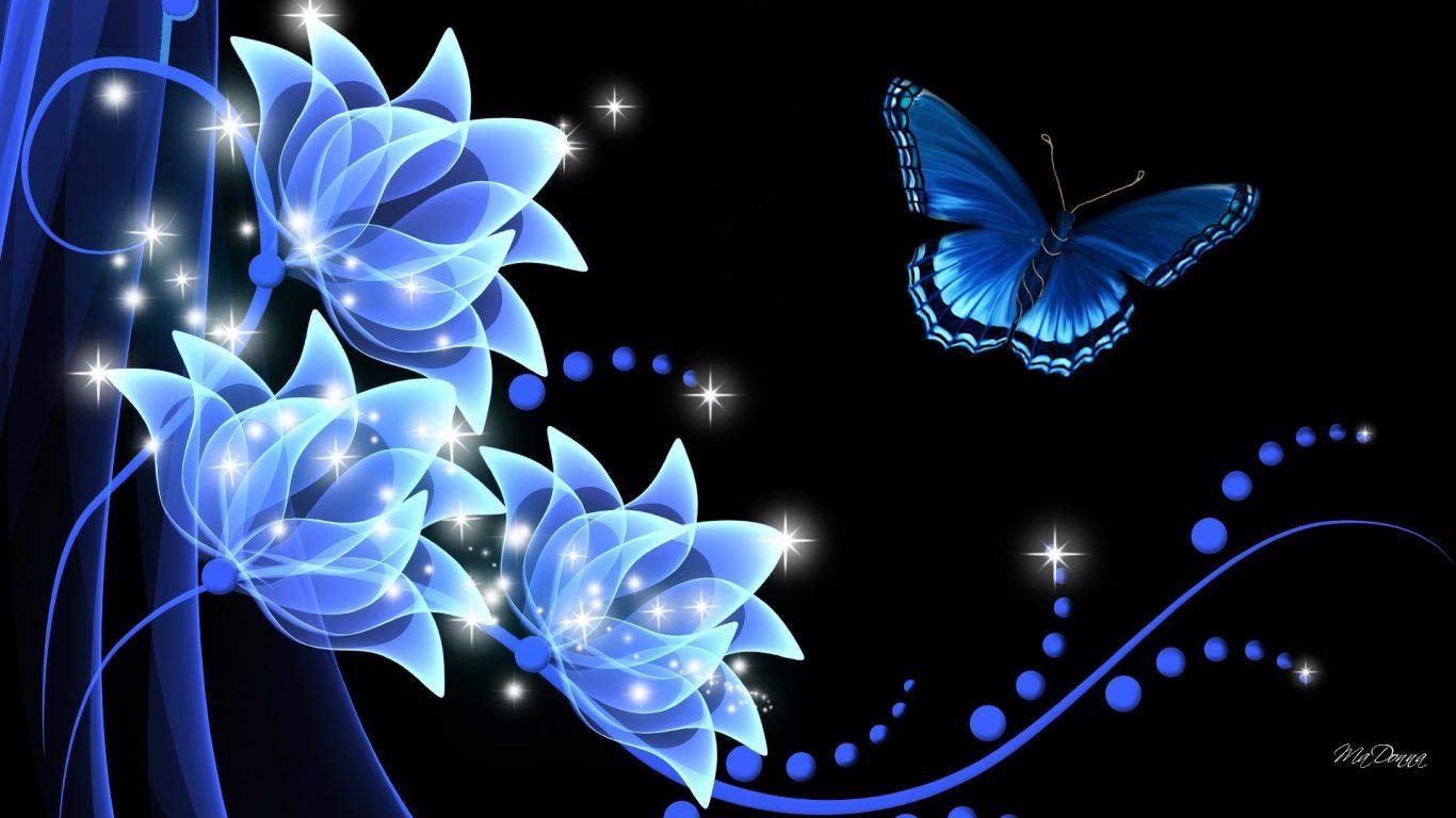 1366x768 Rhapsody Butterfly Dark Glow Flowers Summer Flower - Background Blue Dark Blue Butterfly - Hình nền 1366x768 - teahub.io