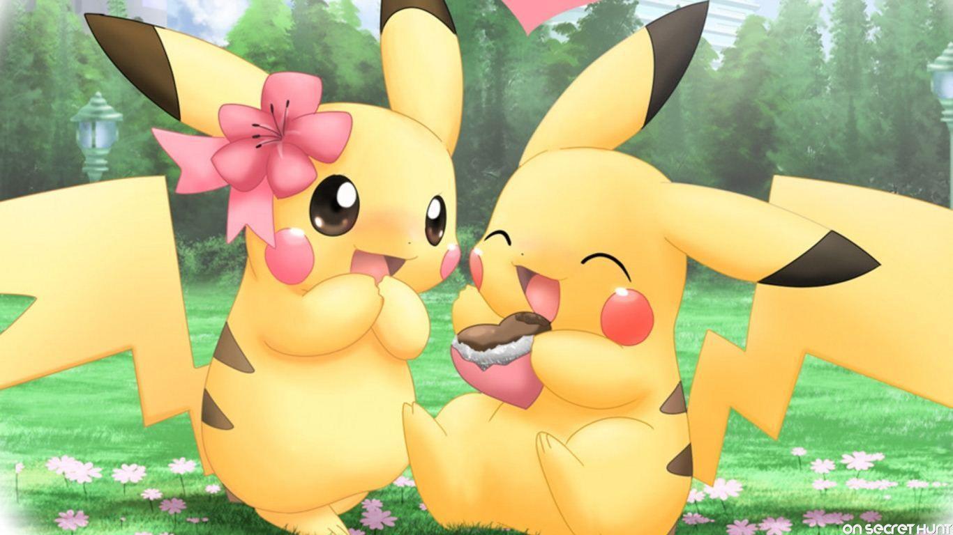 Hình nền Pikachu dễ thương 1366x768