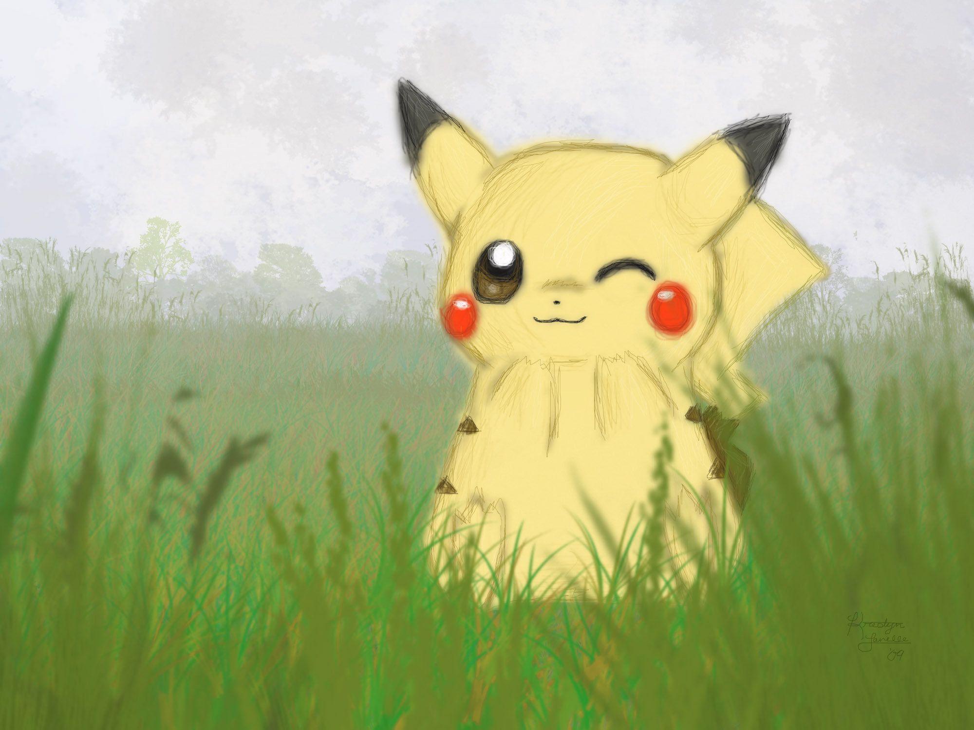 2000x1500 Pikachu hình nền- Foggy Field
