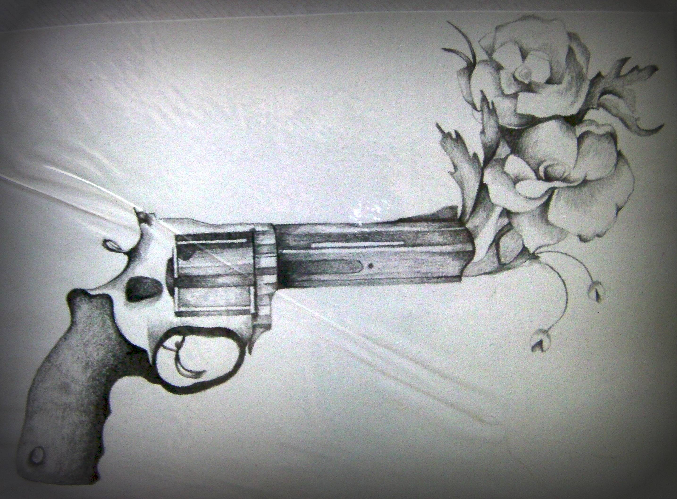 Flower Gun Tattoo Meaning Flowers Healthy