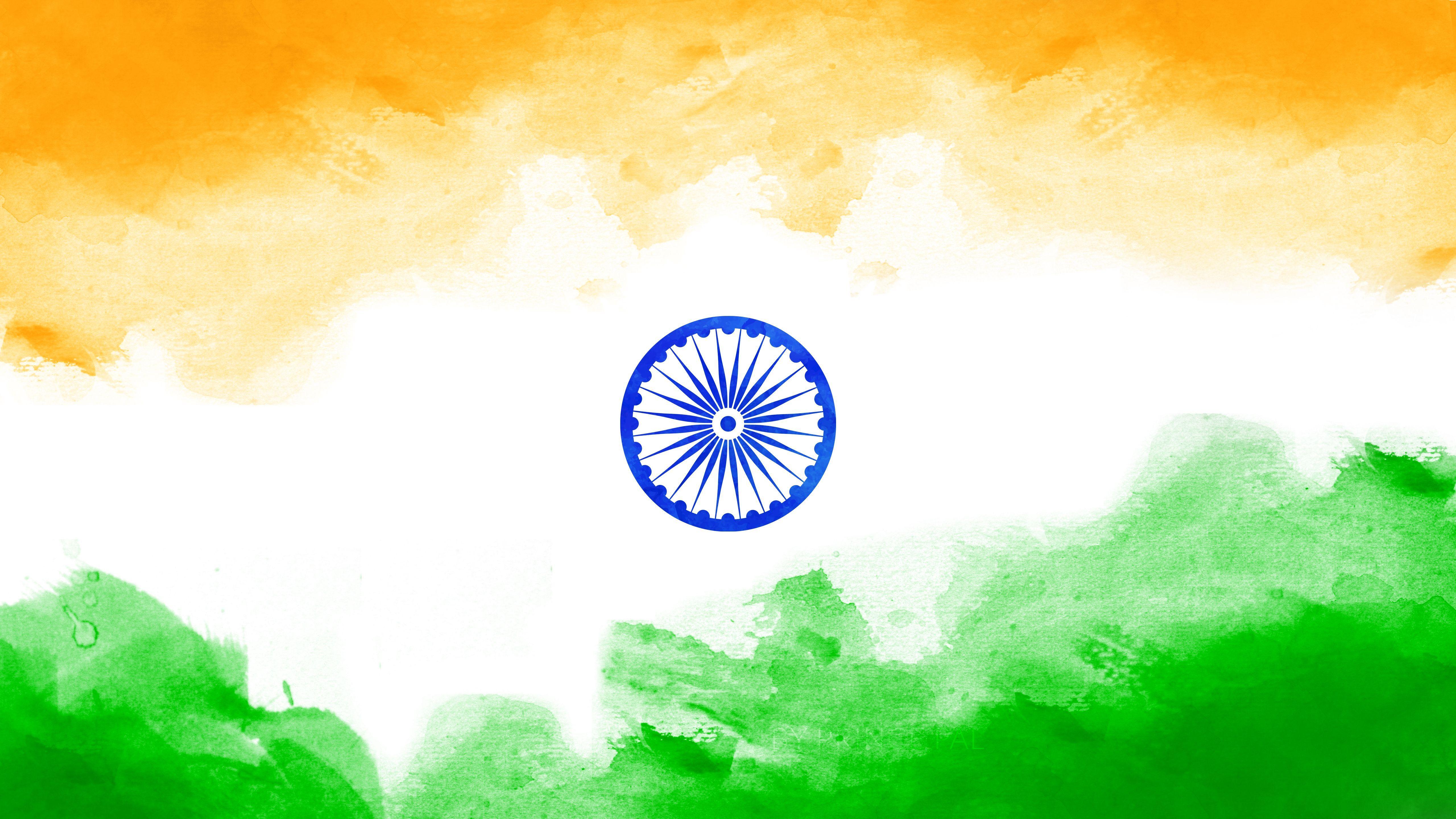 5120x2880 Hình nền cờ Ấn Độ - Chúc mừng ngày quốc khánh
