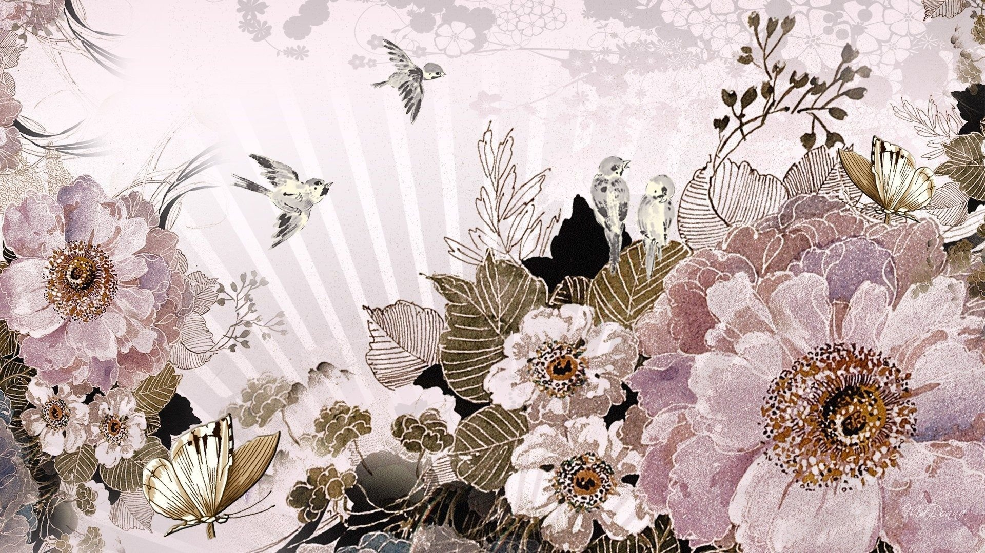 1920x1079 Oriental Tag wallpapers: Oriental Painting Fleur Flower Blossoms .