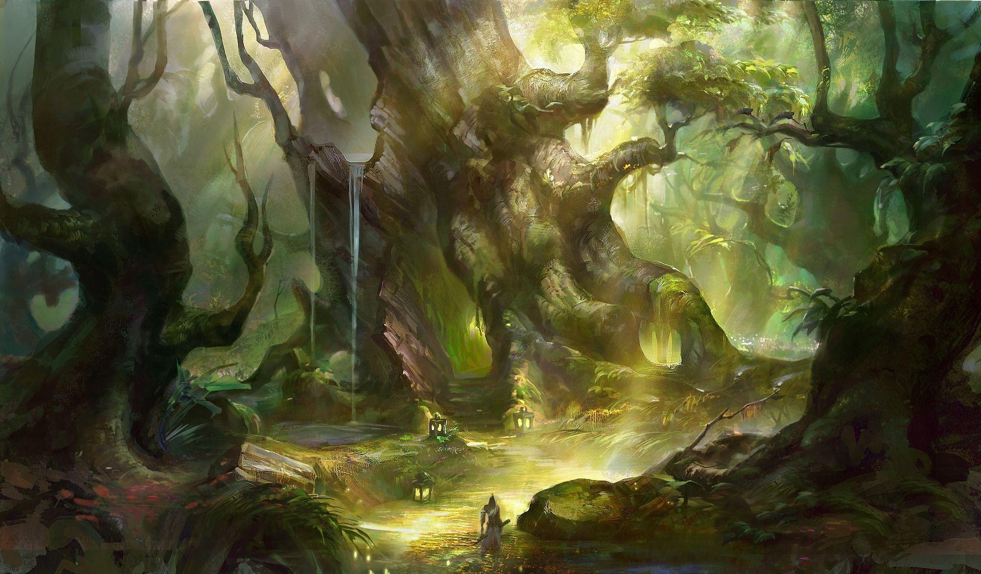 Hình nền Khu rừng tưởng tượng 1920x1125.  Rừng tưởng tượng, Hình nền rừng, tưởng tượng