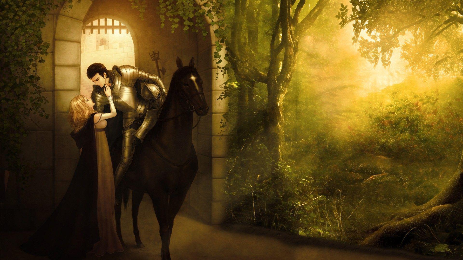 1920x1080 rừng, Hiệp sĩ, công chúa, Ánh sáng mặt trời, Người yêu, Anime, Thời Trung cổ, cưỡi ngựa, Hình nền vòm