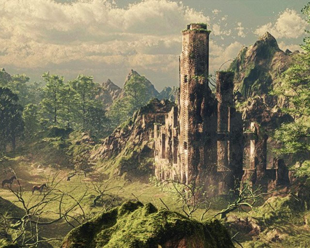 1280x1024 Forest Palace hình nền