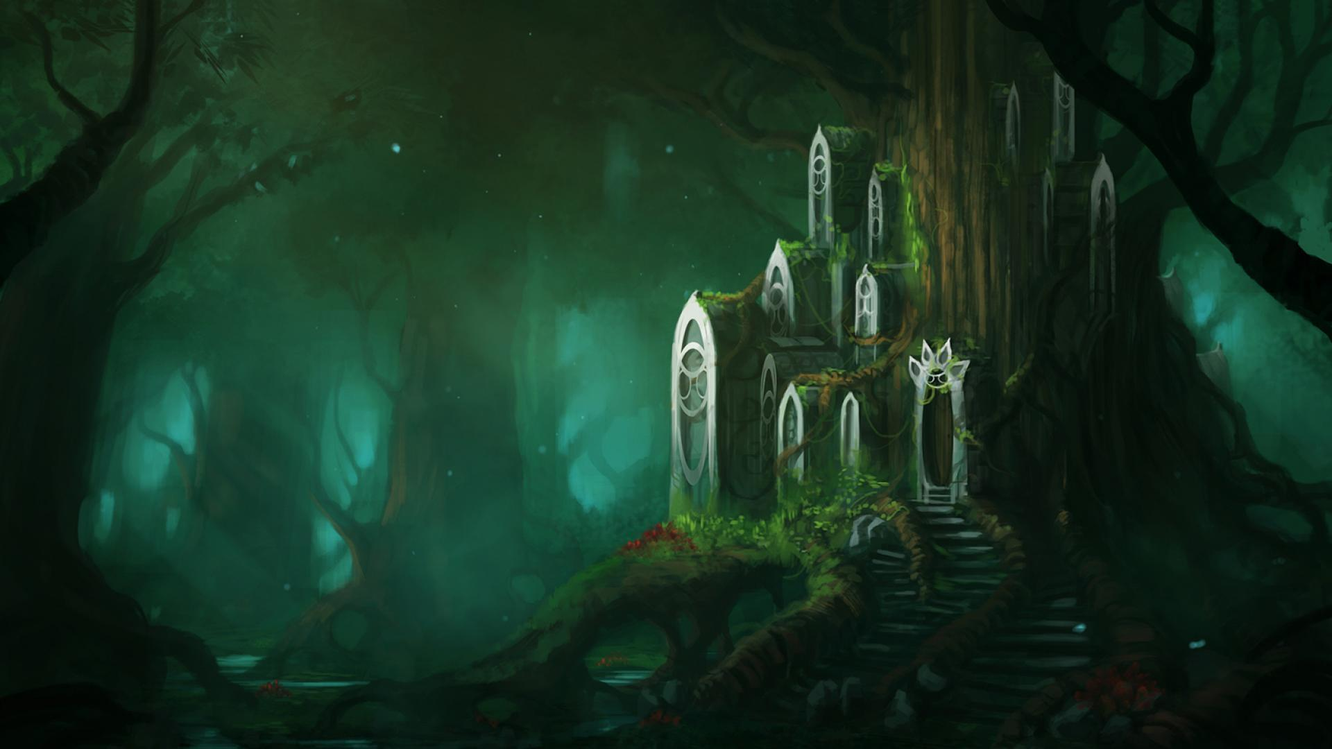 1920x1080 Fantasy Forest hình nền HD