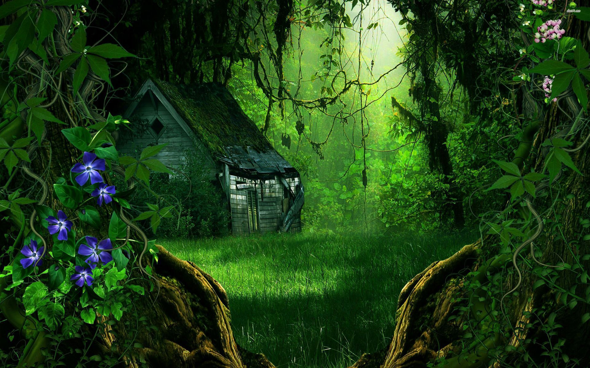 1920x1200 Tài nguyên.  Rừng tưởng tượng, Hình nền rừng, Ngôi nhà trong rừng
