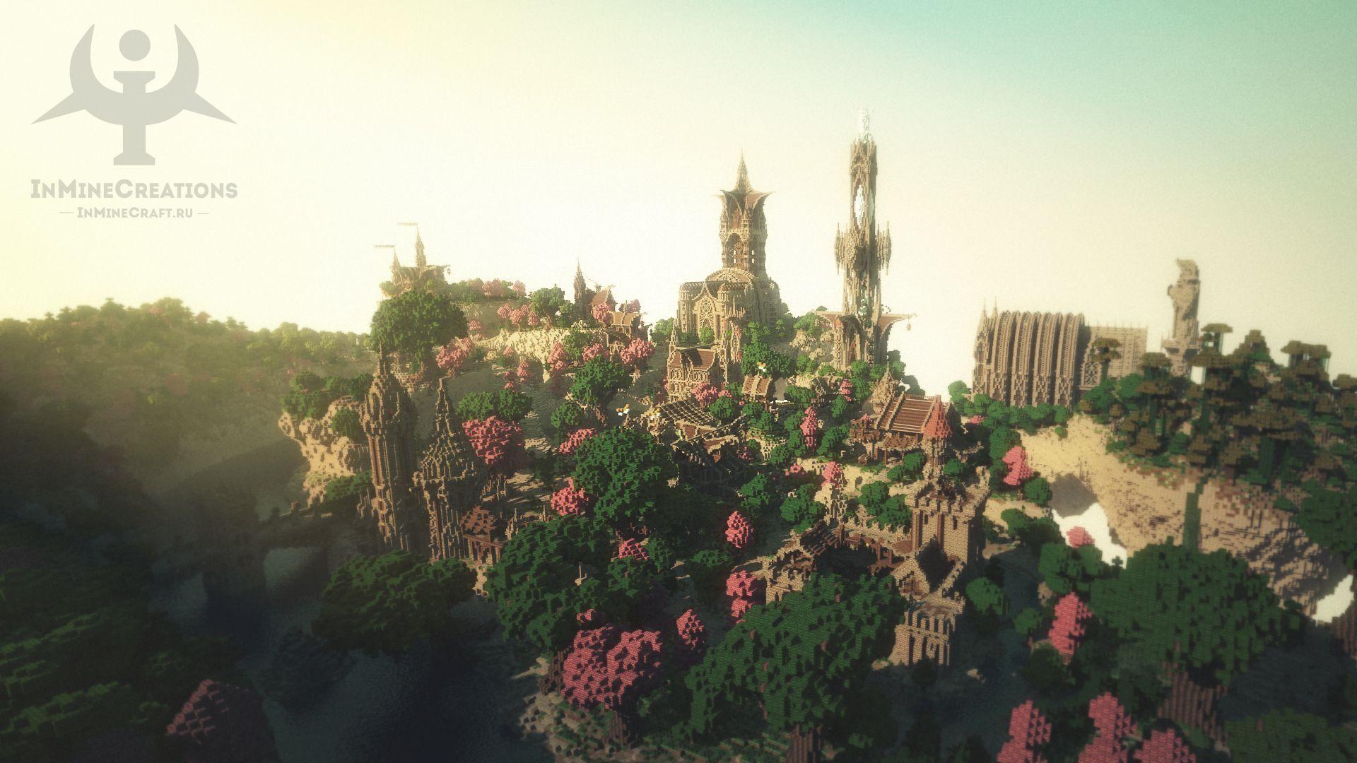 1920x1080 Tải xuống hình nền rừng, bầu trời, cầu, Thành phố, con sông, Tháp, Tưởng tượng, Minecraft, Thời Trung cổ, gói xây dựng, Phần trò chơi ở độ phân giải 1920x1080