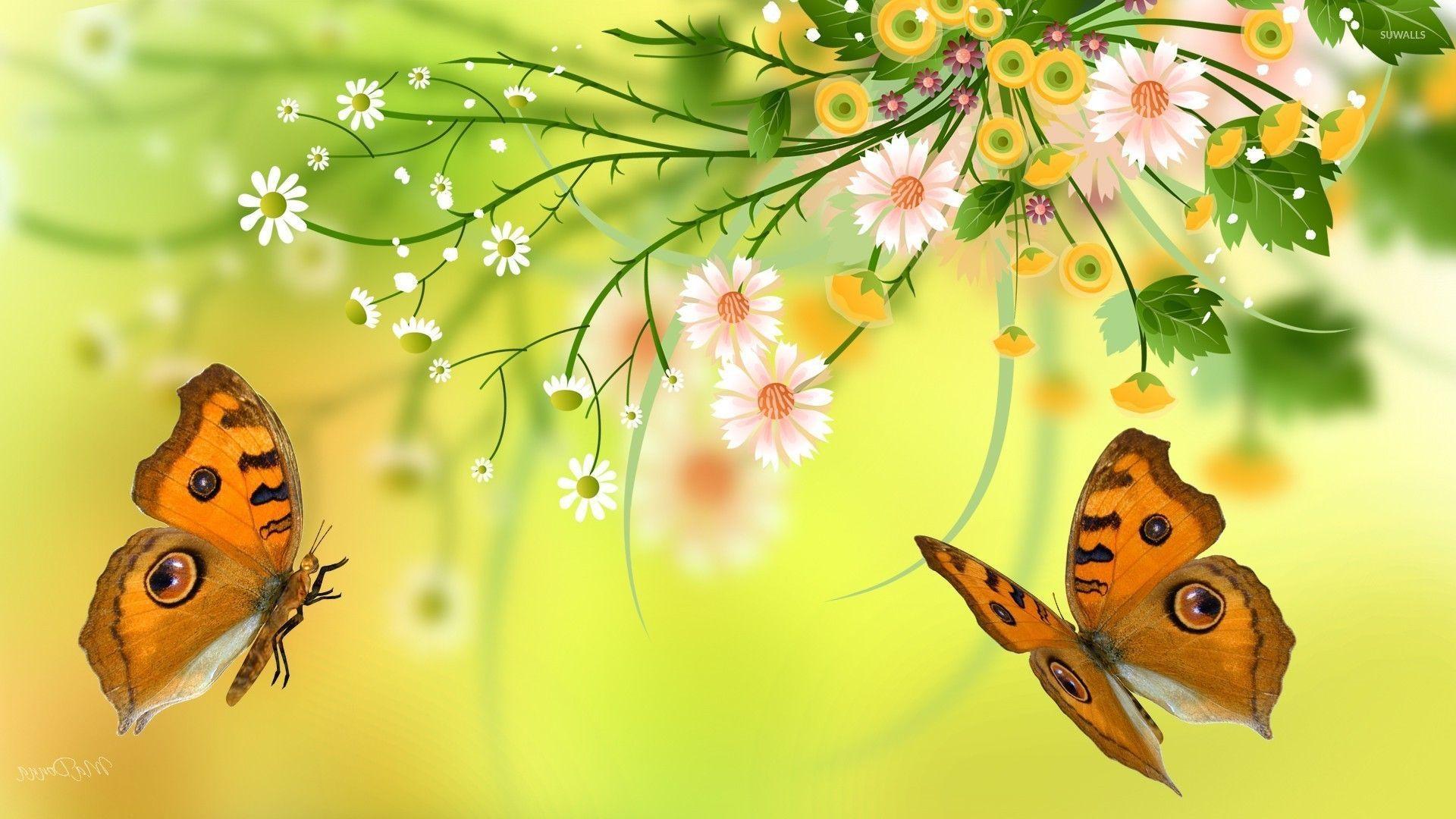 1920x1080 Bướm quanh hình nền bó hoa mùa hè - Hình nền nghệ thuật số