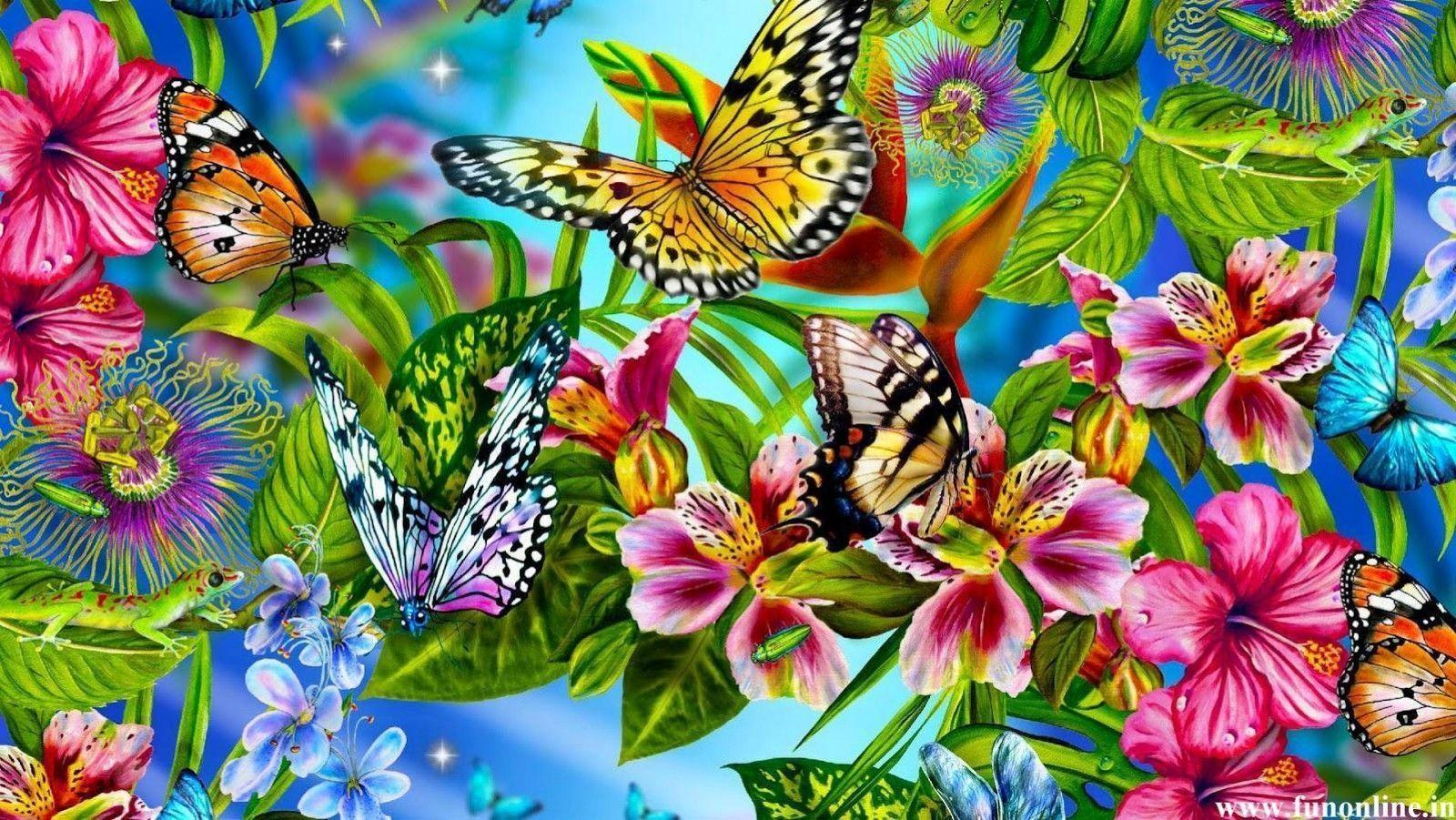 Hình nền 1600x901 Lilies with Butterflies