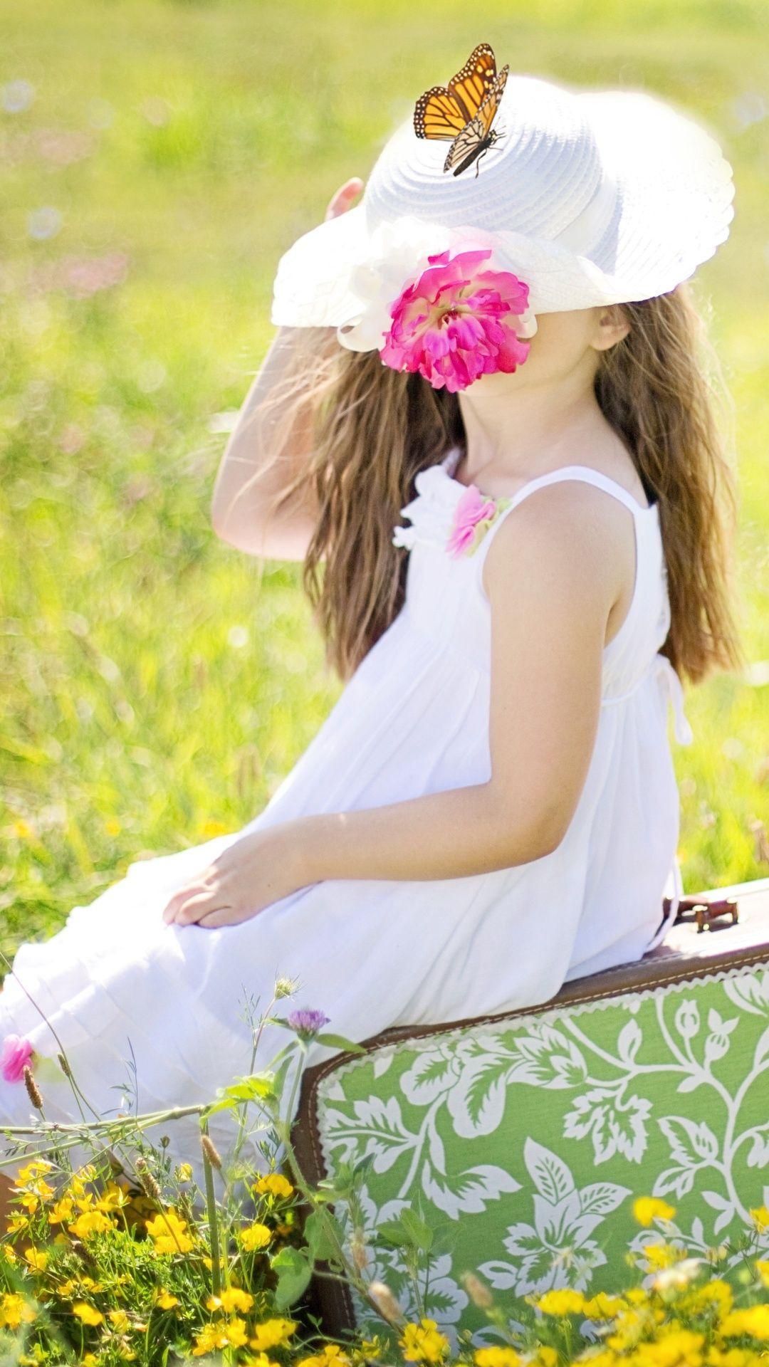1080x1920 White Dress Girl Summer Field Butterfly Wallpaper - 1080x1920