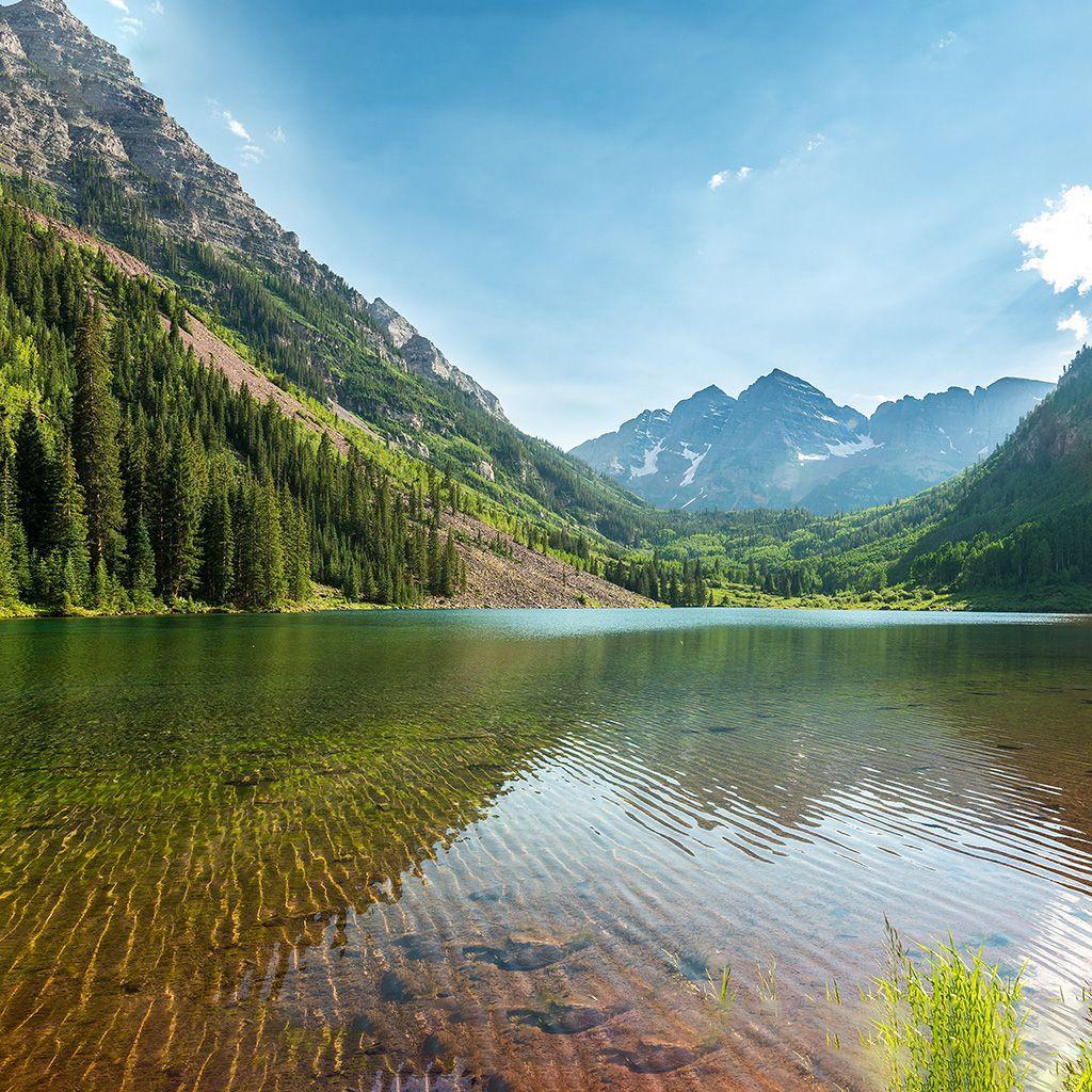 1024x1024 Nature Lake And Mountains 4k HD Tablet hình nền và nền